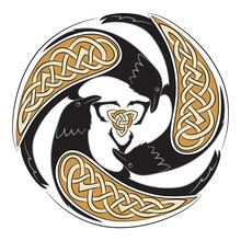 Celtic Ornament With Three Crows