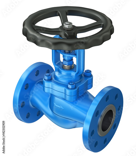 Photo  Blue industrial valve isolated on white background
