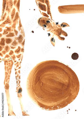 Fotomural Realistic watercolor giraffe