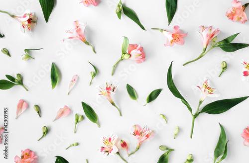 Foto op Canvas Bloemen Flat lay floral pattern made of pink alstroemeria, leaves, petals