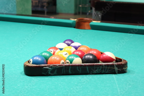 Canvas Print Multicolored billiard balls for snooker on green pool billiard table in a triang