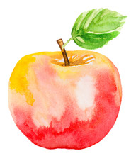 Light Red Apple With Green Lea...