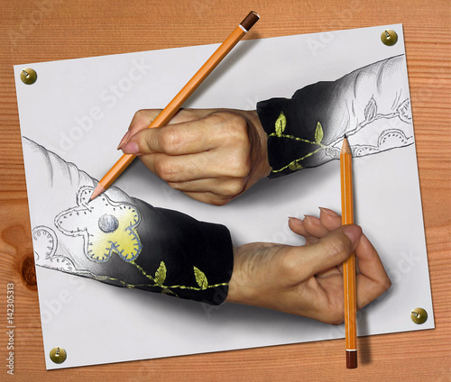 Two women's hands draw each other.