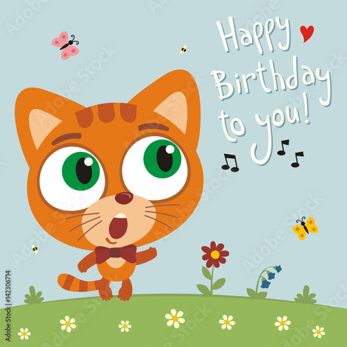 Happy Birthday To You Funny Kitten Cat Sings Song Card With In Cartoon Style