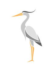 Heron. Abstract Bird On White Background