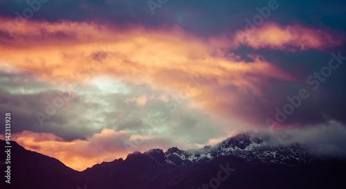 Fotografia, Obraz  Magnificent vivid sunset in mountains of Himalayas, Nepal