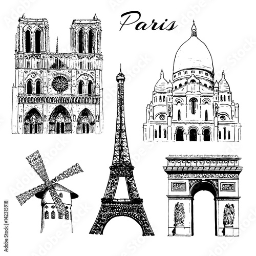 Paris sightseeing set Wallpaper Mural