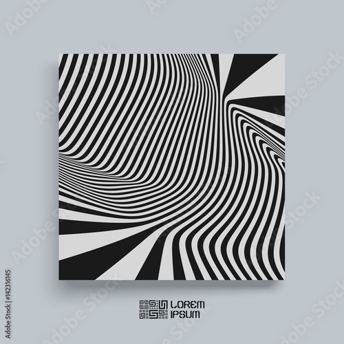 Pattern with optical illusion. Black and white background. Cover ...