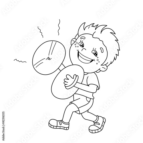 Coloring Page Outline Of cartoon Boy playing the cymbals. Musical ...