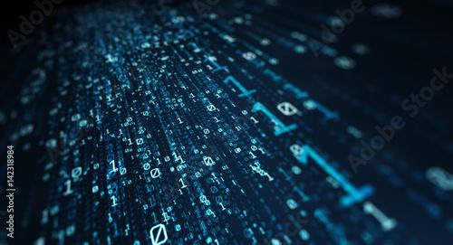 Fotomural  Binary code  background/Blue bytes of binary code flying through a vortex, backg
