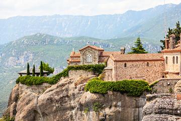 Fototapeta na wymiar View of  Holy Monastery of St Stephen (Agios Stefanos).  Meteora monasteries, Greece.