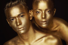 Male And Female Face Around. T...