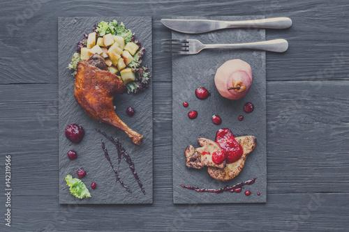 Deurstickers Klaar gerecht Roasted duck leg and foie gras, restaurant food closeup
