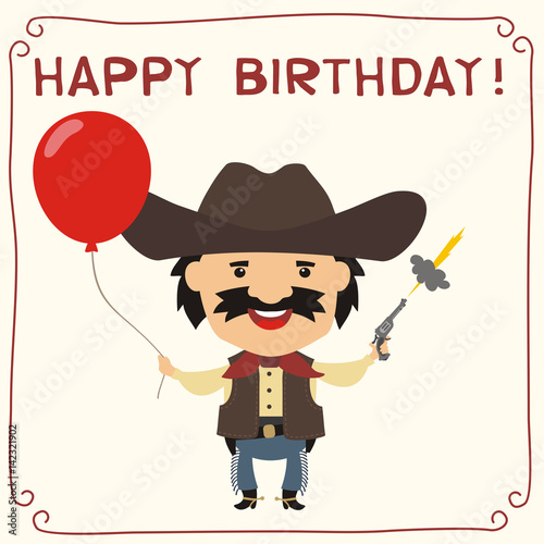 Happy Birthday Funny Cowboy With Red Balloon Card In Cartoon Style