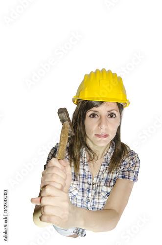 Fotografie, Obraz  Ragazza muratore con il martello