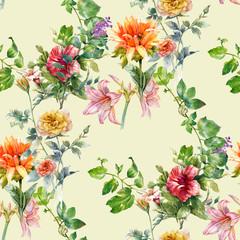 Panel Szklany Podświetlane Do przedpokoju Watercolor painting of leaf and flowers, seamless pattern on white background