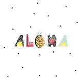 Aloha text with creative exotic fruits. Trendy t-shirt print. It can be used for apparel, bags, t-shirt print, poster.Vector Illustration - 142344767