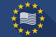 Long Shadow EU Flag With  The Unites States Of America Waving Flag