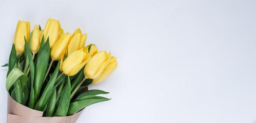 Букет желтых тюльпанов. Белый фон. Вестники разлуки. Цветы.