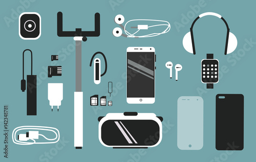 Fototapeta Smart phone accessories vector flat style illustration set. Creative mobile collection. obraz