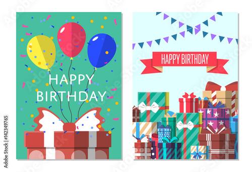 Happy Birthday Greeting Card Design Set Vector Illustration