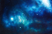 Cosmic Space And Stars, Color Cosmic Abstract Background. Original Hand Painting.
