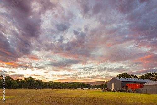 Foto op Aluminium Lavendel Australian rural landscape countryside farm at sunset in Myponga South Australia