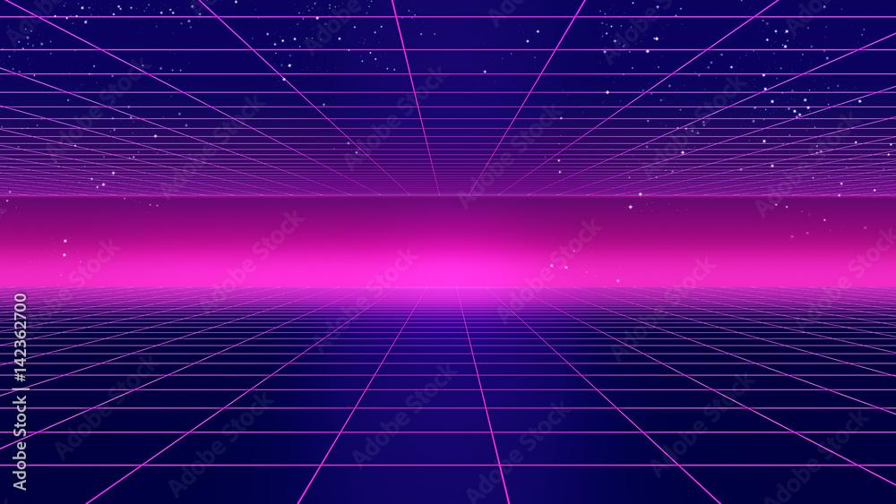 Fototapety, obrazy: Retro futuristic background 1980s style 3d illustration.