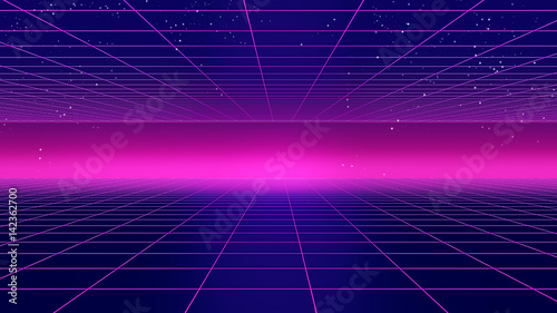 Obraz Retro futuristic background 1980s style 3d illustration. - fototapety do salonu