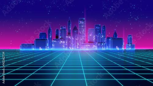 Obraz Retro futuristic skyscraper city 1980s style 3d illustration. - fototapety do salonu