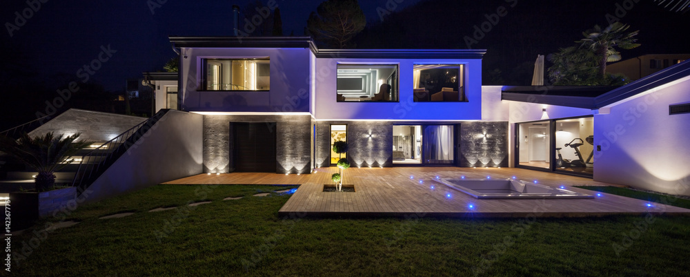 Fototapety, obrazy: House with pool in the evening, nobody