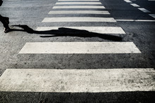 Human Shadow On The Crosswalk,...
