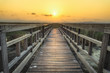 Wooden bridge with sunset sky in twilight at Sam Roi Yot National Park,Thailand