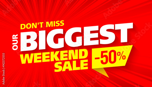 Photo Biggest Weekend Sale bright advertising banner design