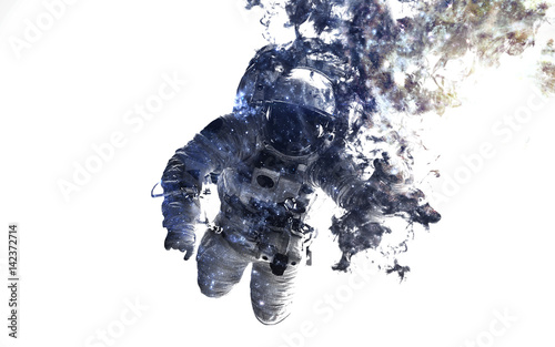 Fotobehang Nasa Modern space art. Astronaut at spacewalk. Dust of universe, smoke, isolated on clear white background. Elements furnished by NASA