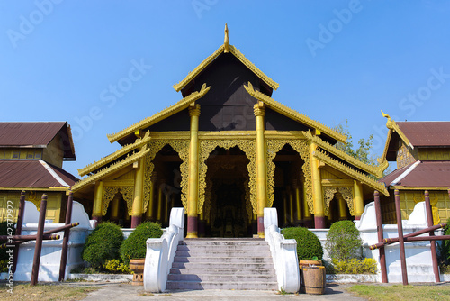 Photo  Gold palace at Kanchanaburi Province, Thailand.