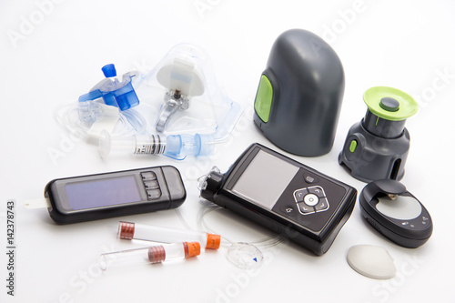 Fotografía  Diabetic items - Diabetes care, concept, test, monitor, background: Education ab