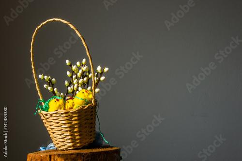 Fototapeta Kompozycja dekoracja świąteczna Wielkanocna, stół wielkanocny obraz
