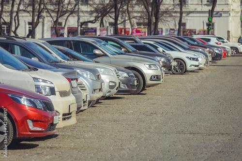 Poster Vintage voitures Parking cars