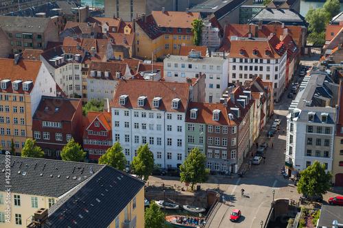 Photo  Aerial view of Copenhagen streets. Christianshavn distrinct
