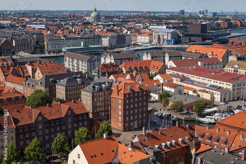Photo  Aerial view of Copenhagen red roofs and canal