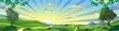 Panorama - the landscape of the Russian steppe. Birch branches. The trees on the hill. The mountains and the lake on the horizon. Vector illustration