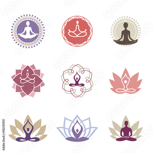 Yoga Logos Vector Yoga Icons And Line Badges Graphic Design Elements Or Logo Templates For Spa Center Or Yoga Studio Buy This Stock Vector And Explore Similar Vectors At Adobe