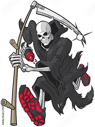 Grim Reaper Running with Athletic Shoes and Water Bottle Poster