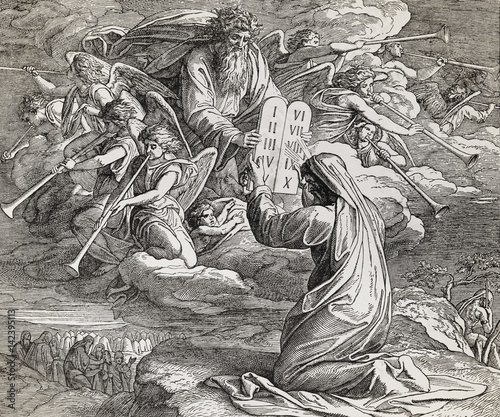 Fotografía Moses receiving the ten commandments from God, graphic collage from engraving of Nazareene School, published in The Holy Bible, St