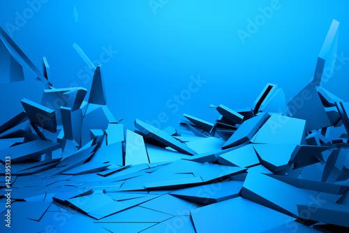Plakat Abstrakcjonistyczny 3d rendering krakingowa powierzchnia. Tło z złamanym kształcie. Zniszczenie muru. Pęknięcie gruzem. Ilustracja nowoczesny cgi. Projekt plakatu, banera, afiszu, okładki, druku.