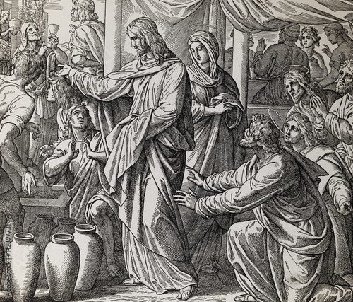Fotografia Jesus turns water into wine at Cana marriage feast, graphic collage from engraving of Nazareene School, published in The Holy Bible, St