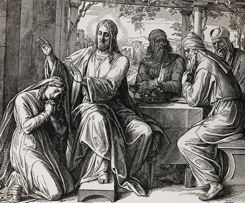 Photo  Jesus giving blessing, love and forgiveness to a woman, graphic collage from engraving of Nazareene School, published in The Holy Bible, St