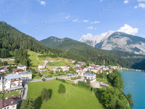 Riviere Aerial view of Auronzo Lake, Italian Dolomites