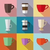 Set of simple colorful coffee cups and french press flat icons o